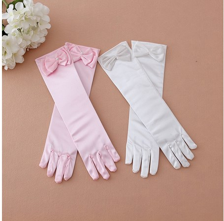 Child Girl Flower Gloves Kids Formal Solid Color White Lace  Bow Gloves Princess Pink Clothes Costume Accessories 2019
