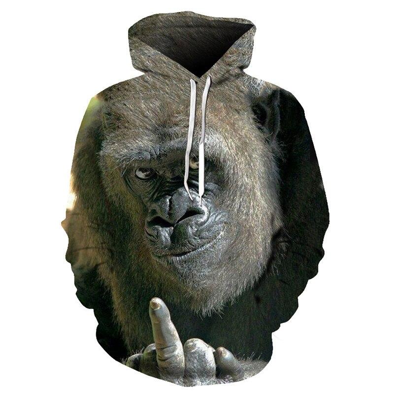 Autumn new animal gorilla / monkey hoodie men and women 3D sweatshirt oil orangutan print hooded jacket hip hop street shoot