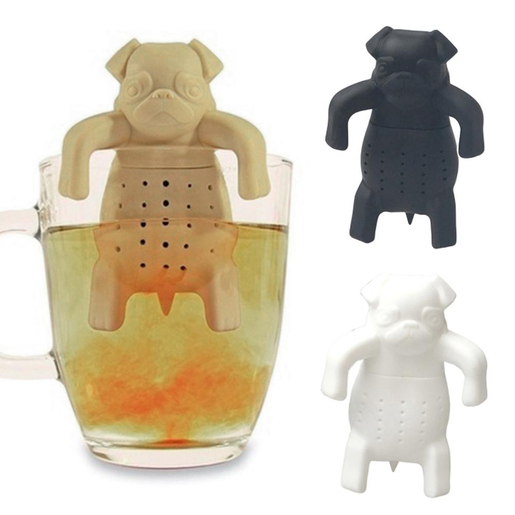 New Silicone Lovely Pug Shape Coffee Tea Infuser Teapots Tea Filter Herbal Strainer Filter Teapots Brewing Making Teapots Tea