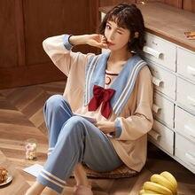 Осенне зимняя Пижама мультяшная одежда для сна домашняя женщин