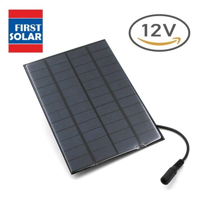Pannello solare 12V 1.5W 2W 2.5W 3W 4.2W 5W 7W 10W mini Sistema Solare FAI DA TE Per La Batteria Del Telefono Cellulare Caricabatterie Portatile 5.5*2.1 Spina CC