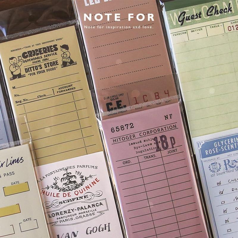 1 Sets/1 Lot Retro Memory Memo Pad Sticky Notes Escolar Papelaria School Supply Bookmark Notepad Label