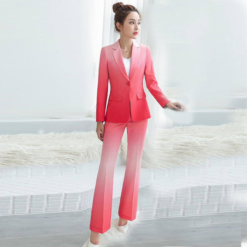 Casual Temperament Women's Suits Jacket High Quality Autumn New Slim Gradient Full Sleeve Blazer Female Slim Flare Pants Sets
