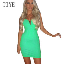 TIYE Sleeveless V Neck Spaghetti Strap Stretchy Package Hip Short Mini Dress Women Sexy Bodycon Summer Club Vestidos