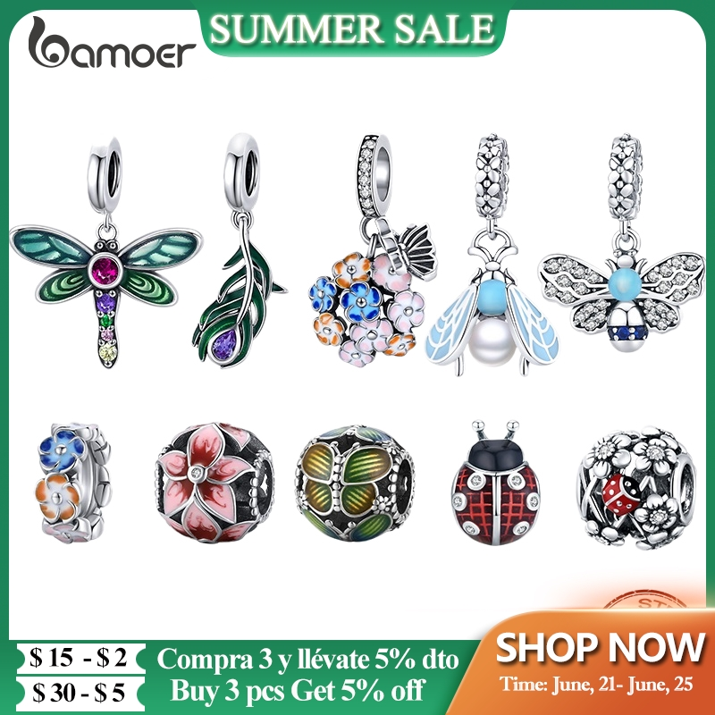 bamoer Authentic 925 Sterling Silver Shiny Dragonfly Charm for Original Silver DIY Bracelet or Bangle jewelry Make beads SCC1706