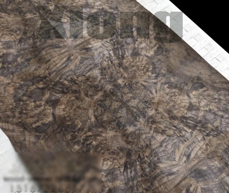 Length: 2.5 Meters Width: 55cm Thickness:0.3mm Luxury Hotel House Black Walnut Burl Splice Wood Veneer (back Side:Kraft Paper)