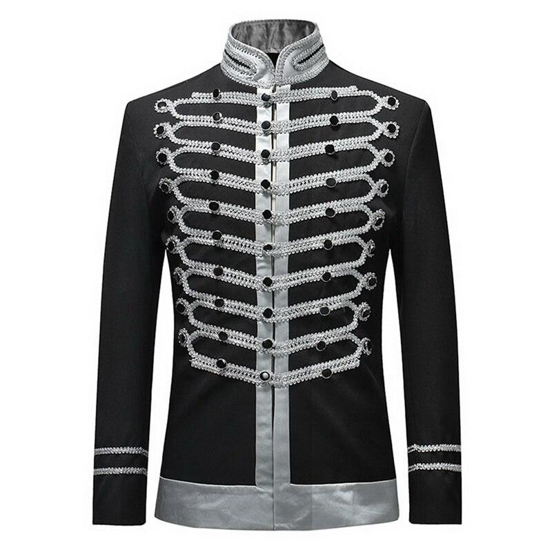 MoneRffi 2019 Vintage Blazers Retro Steampunk Gothic Suit Jackets  Stage Costume For Party Mens Black White Luxury Coat