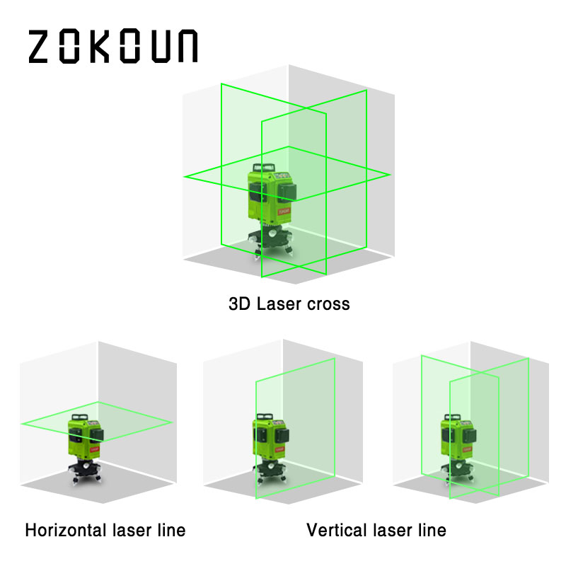 ZOKOUN 12 Lines 3D Self Leveling Green Laser Level 360 Degree Horizontal And Vertical Cross 1