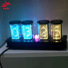 zirrfa [GIXIE CLOCK] 4 Bits RGB LED Glow Tube Digital Clock Kit Retro Desk Watch 5V Micro USB Powered Electronic DIY kit(China)