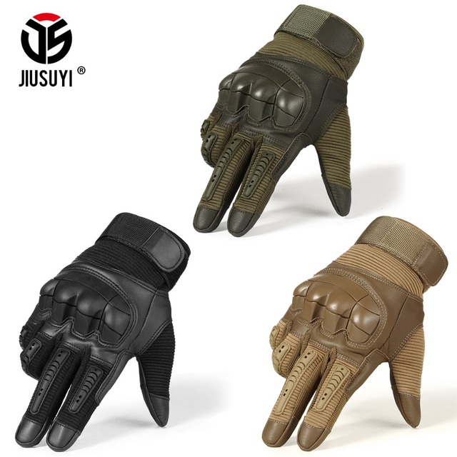 Touch Screen Tactical Rubber Hard Knuckle Full Finger Gloves Military Army Paintball Airsoft Bicycle Combat PU Leather Glove Men 1