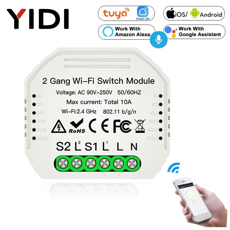 2 Gang DIY Wifi Smart Light Switch Breaker Module Smart Life Tuya APP Remote Control Working With Alexa Echo Google Home 2Way