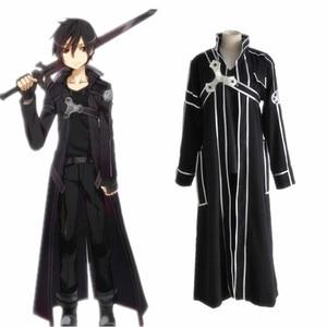 Image 2 - Sıcak Anime Sword Art Online Kirito Cosplay kostüm fantezi yetişkin erkekler için cadılar bayramı kostümleri Kirito SAO Kirigaya Kazuto kostüm takım elbise