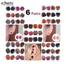 HONGTU 6 Pairs/set New Wood Ear Plugs Gauges Earrings Women Men Flesh Tunnel Expander Piercing Stretcher Body Piercing Jewelry(China)