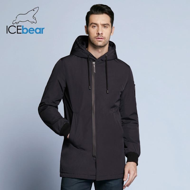 ICebear 2019 New Autumn Men's Coat Clothing Fashion Man Jacket Diagonal Placket Hooded Design High Quality Clothing MWC18031D