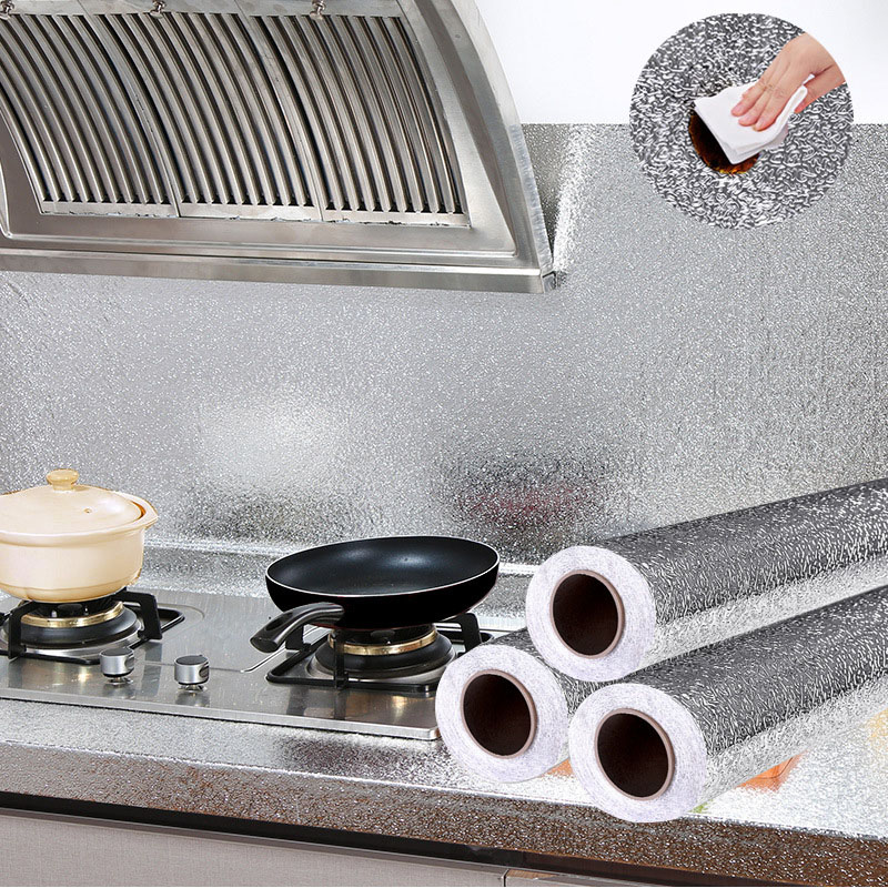Oil Proof DIY Wall Sticker Aluminum Foil Self Adhesive Stove Cabinet Stickers