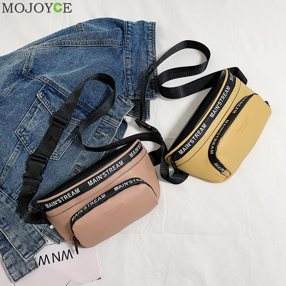 Fashion Fanny Waist Bag Women Letters PU Leather Travel Casual Chest Phone Pouch Zipper Female Girls Daily Retro Crossbody Pack
