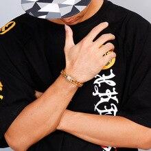 Men's Fashion Hip Hop Punk Stainless Steel Bracelet Polished Assertive Crystal Set Bracelet Cuban Chain Buckle Bracelet For Men stainless steel men bracelet bracelets for women couple bracelet punk hip hop handmade long square chain