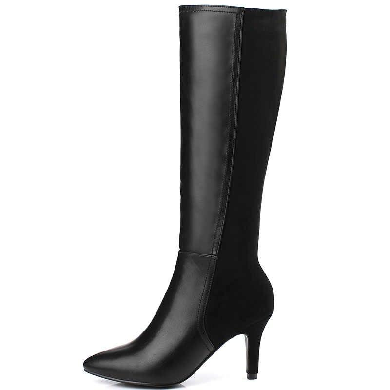Sonbahar ve kış sivri ve yüksek topuklu şövalye çizmeler kadın süet çizmeler binici çizmeleri yüksek diz yüksek çizmeler kadınlar için botines