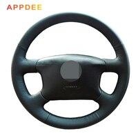 مخيط يدويا غطاء عجلة القيادة الجلدية السوداء لفولكس واجن باسات B5 VW باسات B5 VW Golf 4
