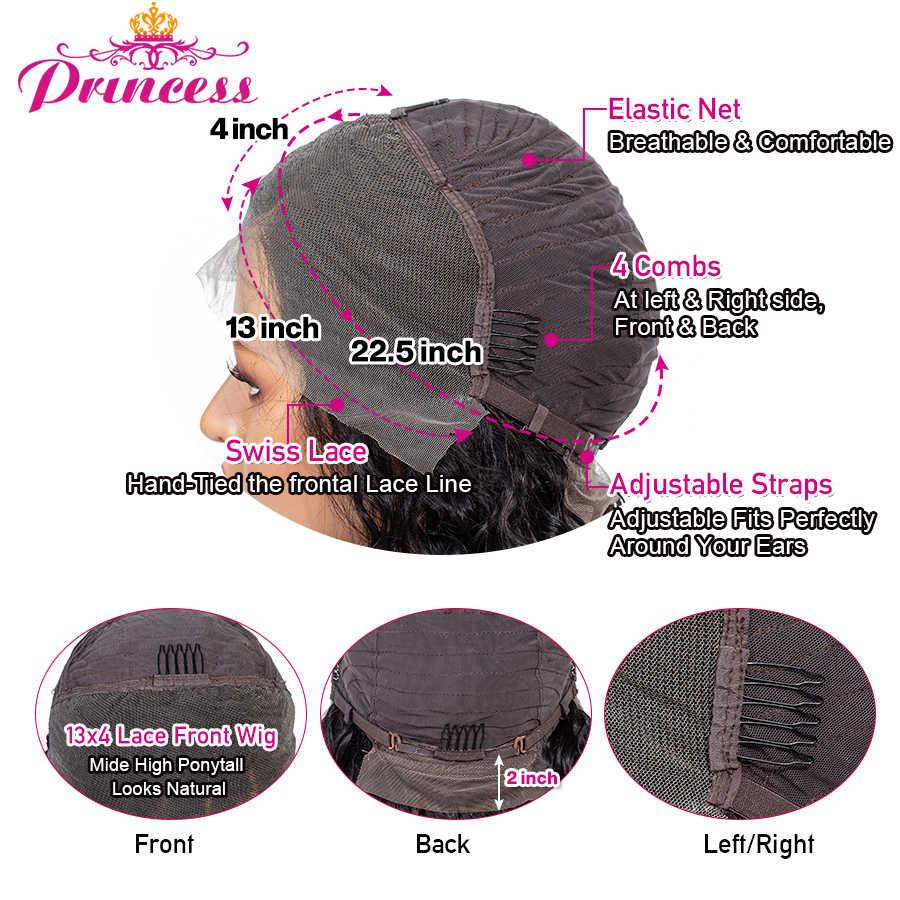 13 × 4 レースフロント人毛ウィッグ事前摘み取ら女性のブラジルディープウェーブレースフロントで毛レミー王女の髪