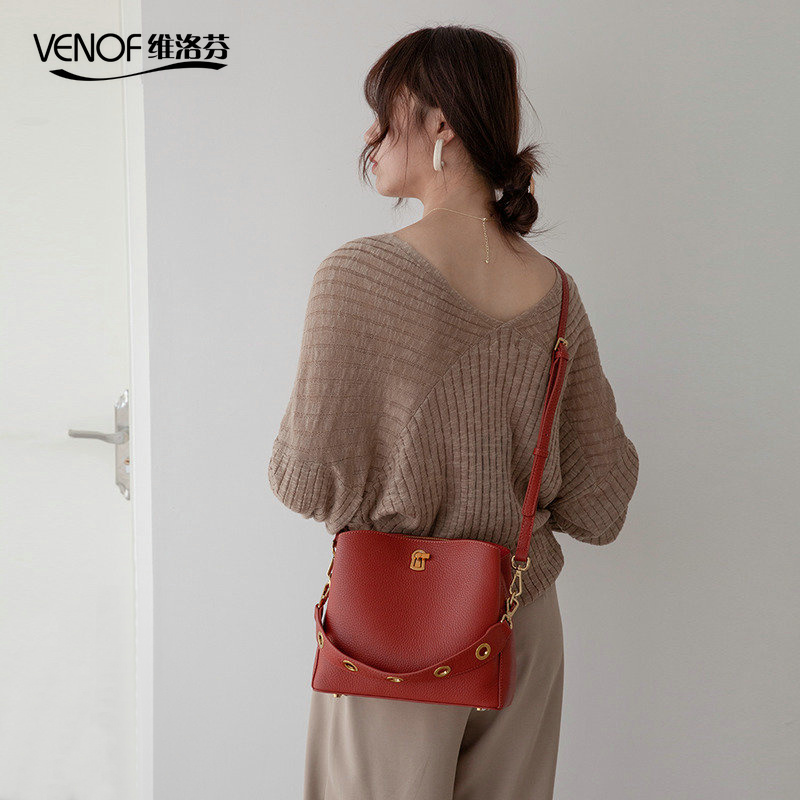 VENOF 2019 Genuine Leather Bucket Bags For Women Soild Ladies Shoulder Bag Female Crossbody Bags Fashion Women Leather Handbags