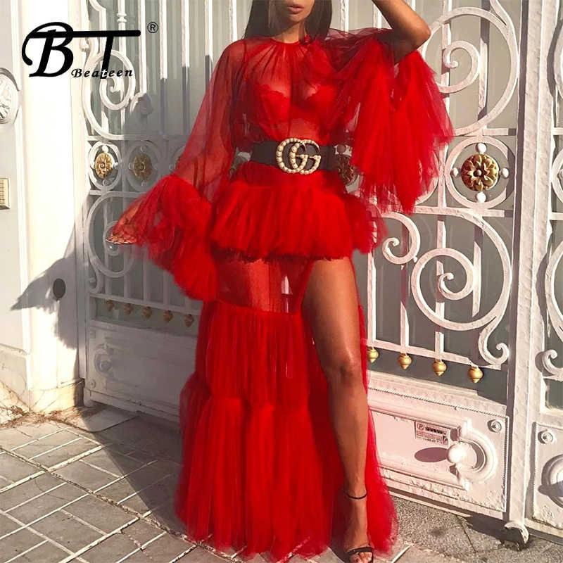 Beateen 2018 新ファッション女性パーティーセクシーな o ネックロングフレアスリーブメッシュフリル視点レイヤードスプリットエレガントマキシドレス