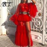 Beateen 2018 New Fashion Women Party Sexy O Neck Long Flare Sleeve Mesh Ruffles Perspective Layered Split Elegant Maxi Dress
