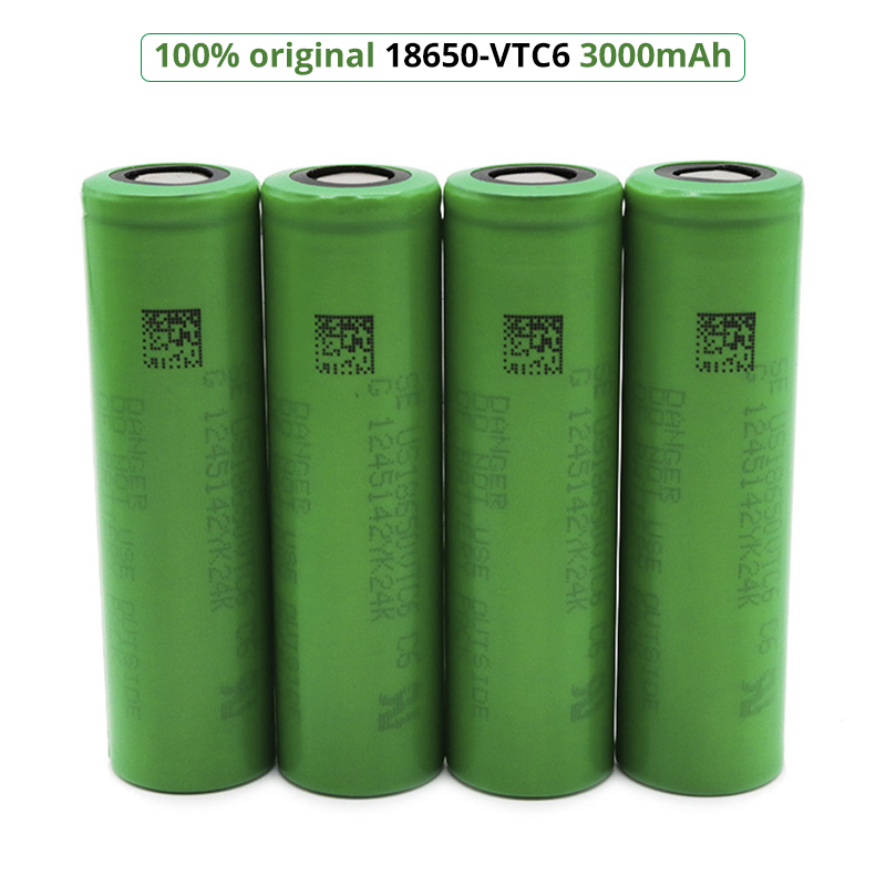 VTC6 18650 3.7V 3000mAh Lithium Ion Rechargeable Battery 30A Discharge For US18650VTC6 Power Tools E-cigarette Batteries