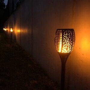 Image 5 - 96 LED s flamme solaire scintillement lampe de jardin torche lumière IP65 projecteurs extérieurs paysage décoration lampe à Led pour les voies de jardin