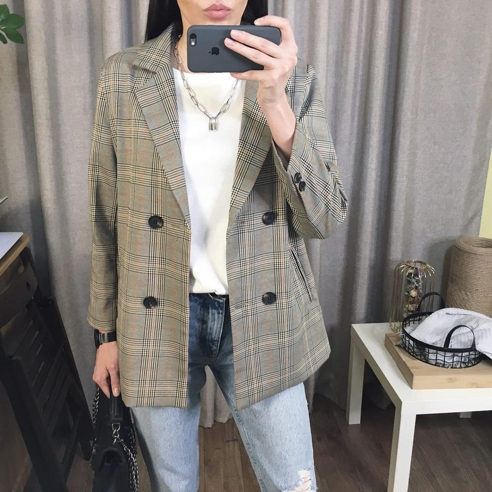 2020 Spring Women Plaid Blazer Korean Fashion Streetwear Causal Plaid Coat Double Breasted Office Ladies Houndstooth Blazer