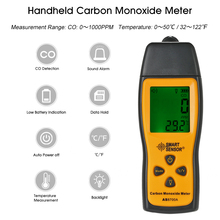 Portable Carbon Monoxide Meter CO Gas Leaking Detector Analyzer Range 1-1000ppm High Sensitivity Sensor Monitor Tester