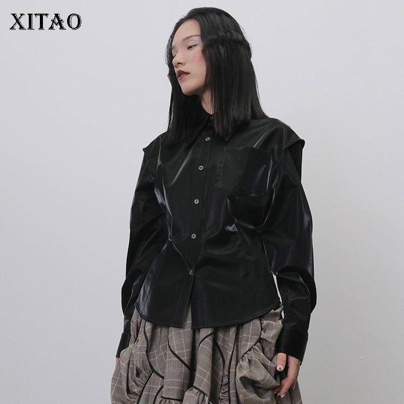 XITAO PU noir Blouse femmes mode nouveau 2019 automne unique poitrine col rabattu élégant minorité taille haute chemise GCC2620