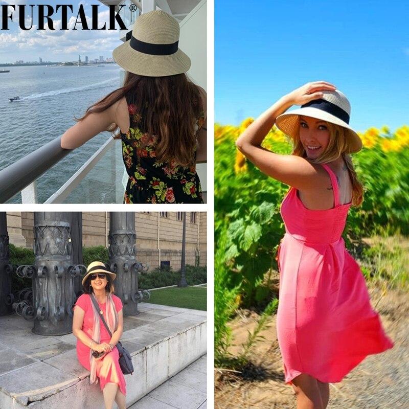 Womens Beach Sun Straw Hat UV UPF50 Travel Foldable Brim Summer UV Hat 5