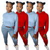 Activewear Outfits Women 2 Two Piece Sets PINK Letter Print Full Sleeve Jackets and Workout Jogger Pant Color Block Club Outfits