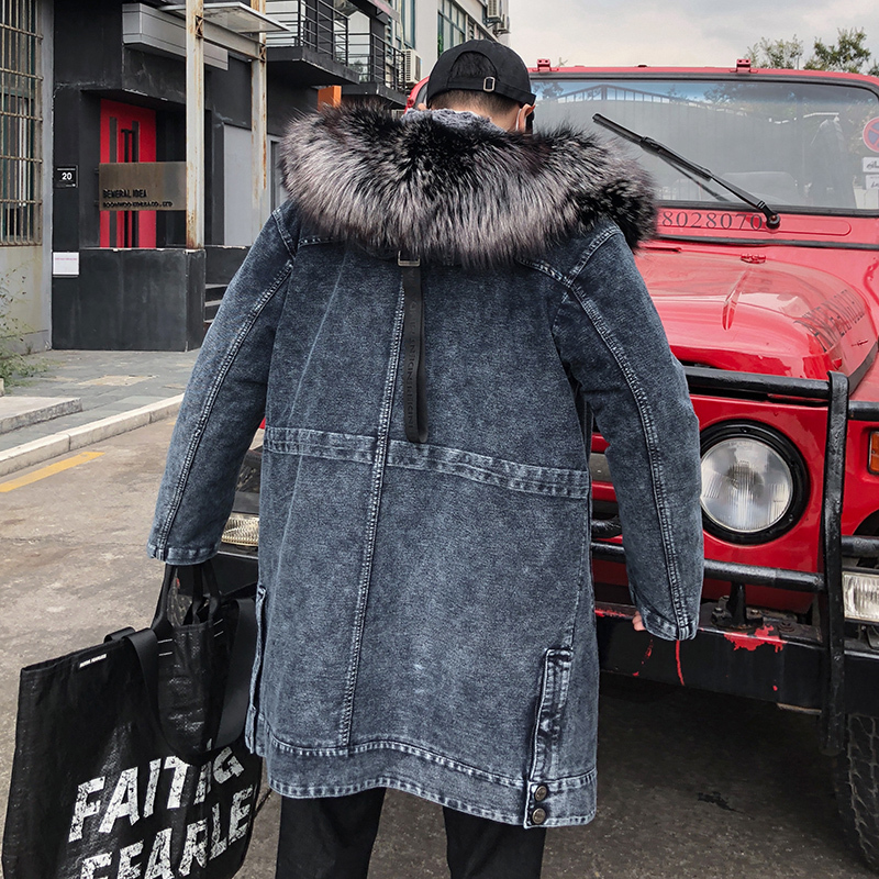 Winter Jacket Men Parka Real Rex Rabbit Fur Coat Fox Fur Collar Long Denim Jackets New Blouson Homme Hiver 85859 KJ1555