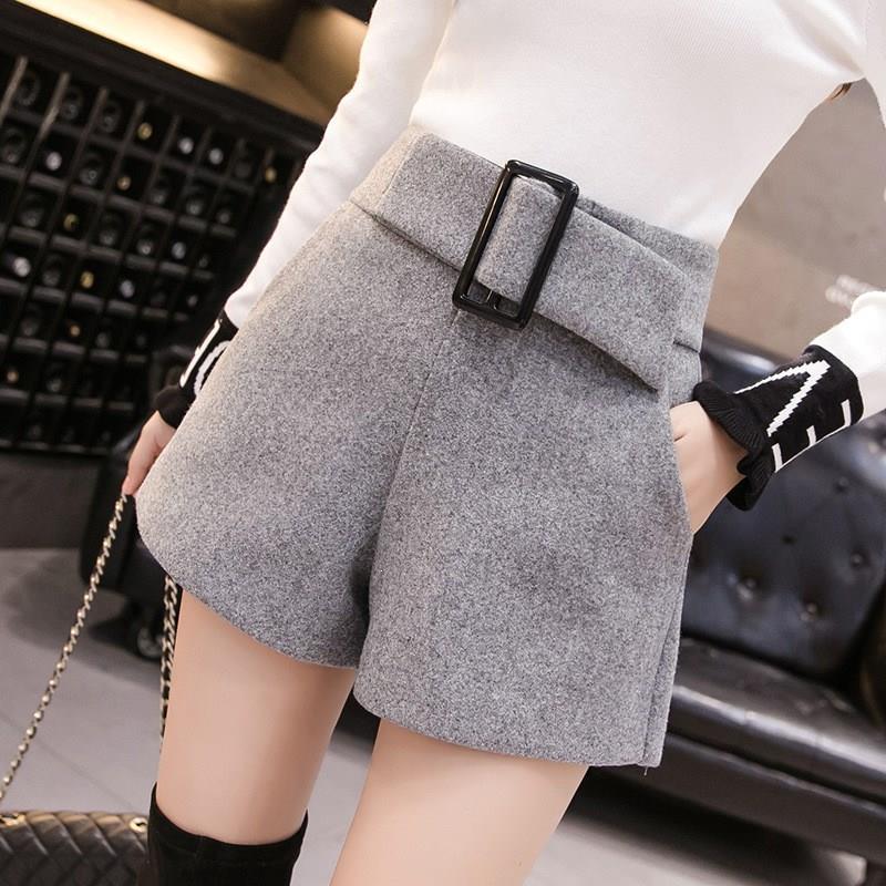 Wool Blend Autumn Winter Shorts Solid Women Elegant Belt Loose Shorts Female Korean High Waist Shorts