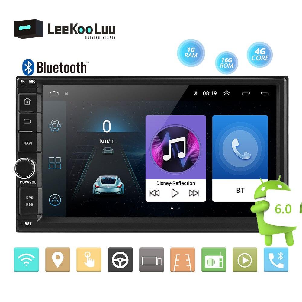 LeeKooLuu Andriod lecteur multimédia de voiture 2 Din 7 ''écran tactile autoradio Audio Bluetooth voiture MP5 lecteur GPS miroir lien WIFI FM
