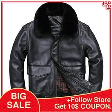 2020 Black Men USAF A2 Pilot Leather Jacket Wool Collar Genuine Thick Cowhide Ru