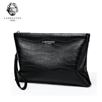 LAORENTOU Men's Clutch Bag for Ipad Men Clutch Purse Men Genuine Leather Zipper Clutch Wallets Male Business Envelope Clutch Bag clutch isabella rhea clutch