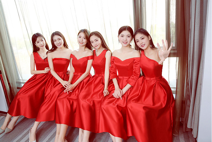 Plus Size Bridesmaid Dress Red Taffeta Tea-Length A-Line Guest Wedding Party Dress Sexy Special Occasion Dresses Simple Vestido