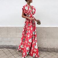 Women Summer European Butterfly Sleeves Beach Dress Sweet V Neck Backless Maxi Dress Solid High Waist Party Dress