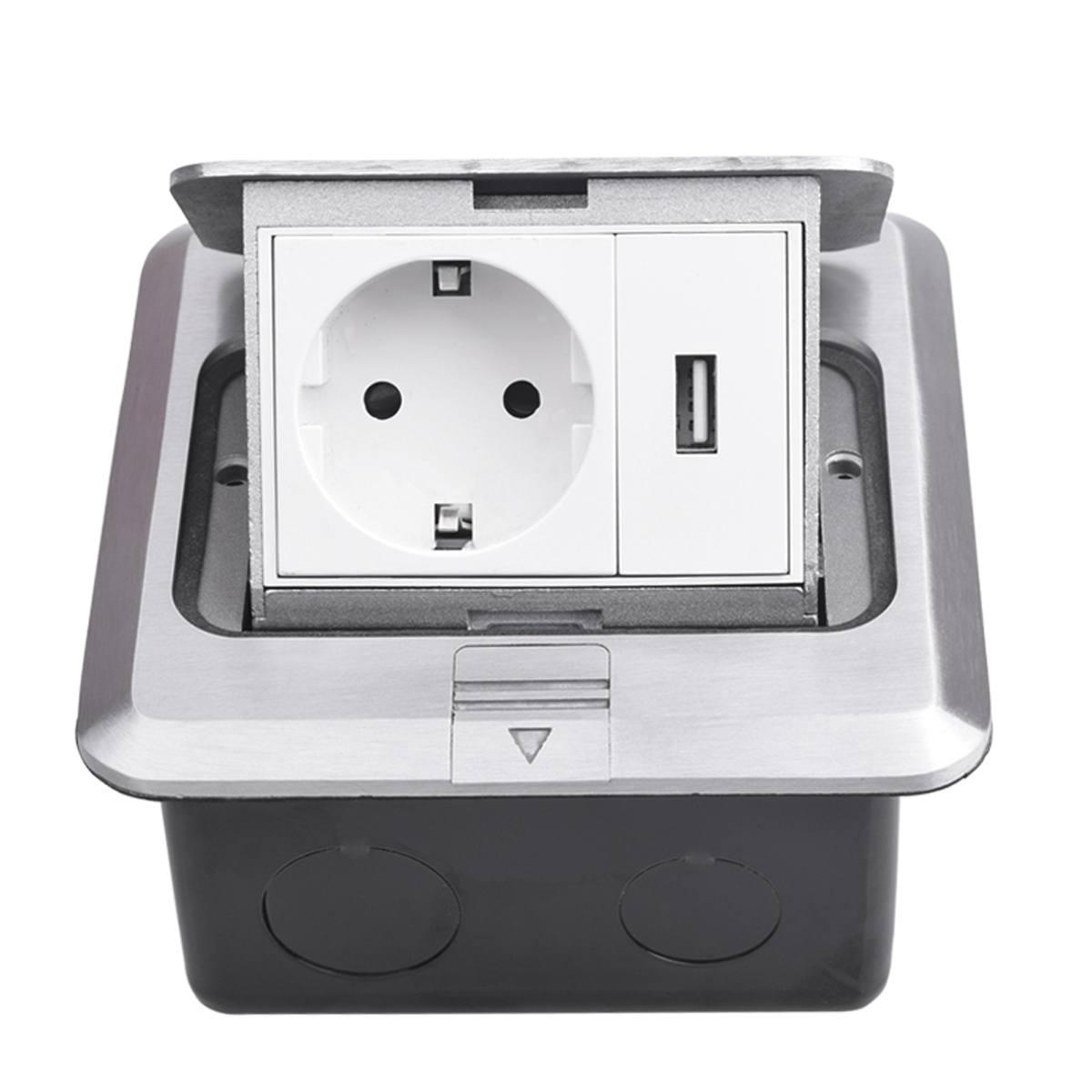 2500W tout en aluminium argent panneau pop Up prise de sol 16A allemagne britannique ue Standard prise de courant avec Port de charge USB 5V 1A