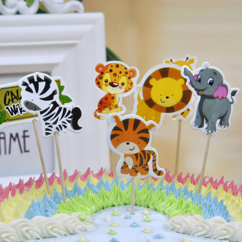 24Pcs Jungle Animal ThemeElephant/Lion/Tiger Cupcake Toppers With Sticks Decorations Cartoon Inserts Boy Favors