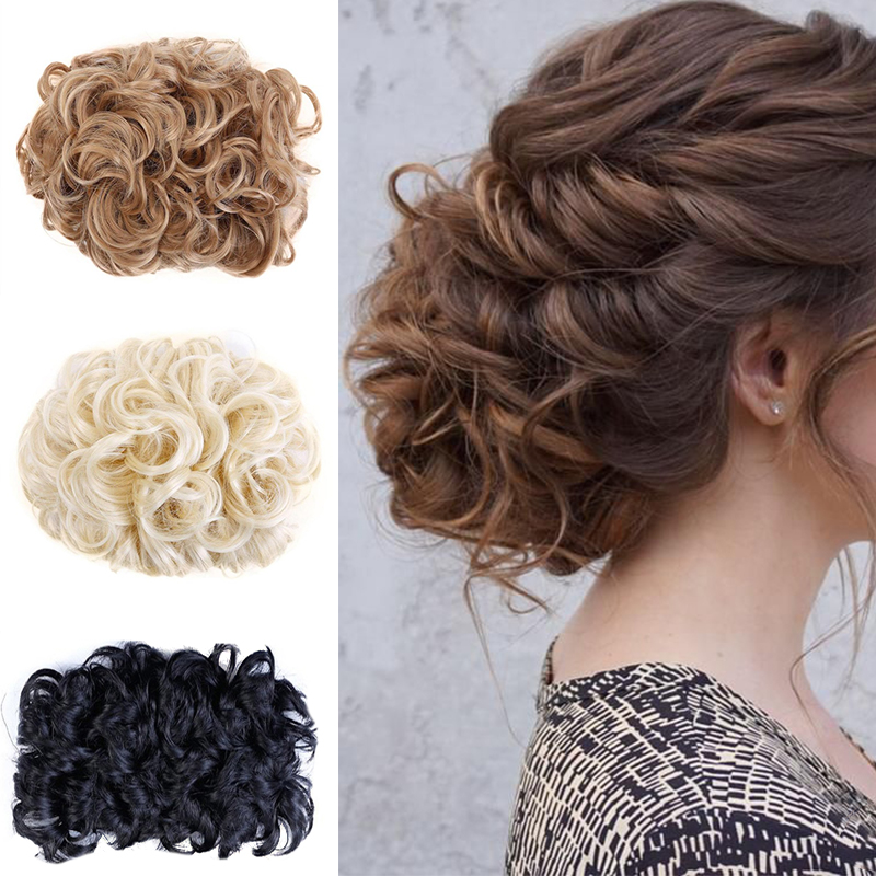 LUPU 5 Colors Synthetic Hair Bun Chignon With Two Combs Updo Donuts Messy Curly Hair Clip In Hairpieces For Girls