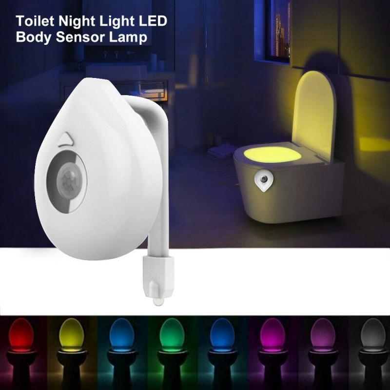 HOT Smart Night Light Motion Sensor LED Night Lamp Battery Operated WC Bedside Lamp For