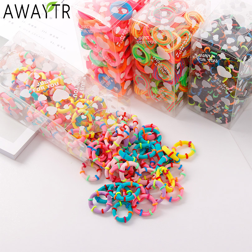 100 Pcs/lot Kids Hair Rope Hair Accessories Scrunchy Elastic Hairbands Girls Decorations Headbands Rubber Band Gum For Hair Ties