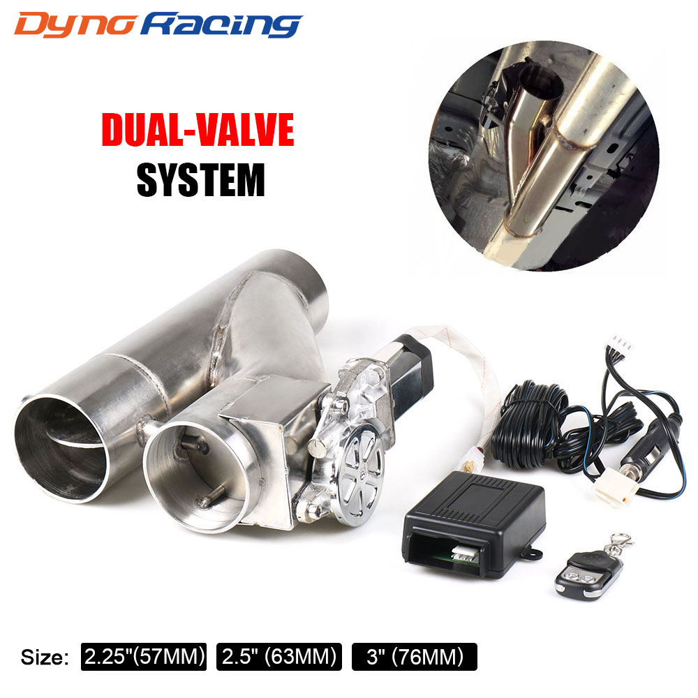 "2.25'' 2.5"" 3"" Electric Exhaust Cutout Kit Y Pipe Exhaust Control Valve With Dual Valve System Switch Remote Control Kit"