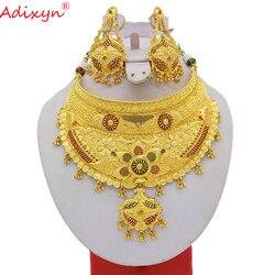 Adixyn Индийский Большой размер Ювелирные наборы для женщин золотого цвета длинное ожерелье/серьги африканские/Дубай/арабские Свадебные Ювел...