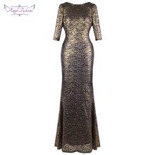 Vestido de noche de encaje dorado de media manga de Ángel de moda para mujer con cuentas plisado vestido de fiesta de boda Vintage 415
