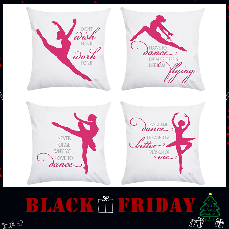 Wholesale Gift Cushion Cover Nordic Pink Ballerina Bodybuilding Gymnastics Microfiber Home Car Office Sofa Decor Pillow Case